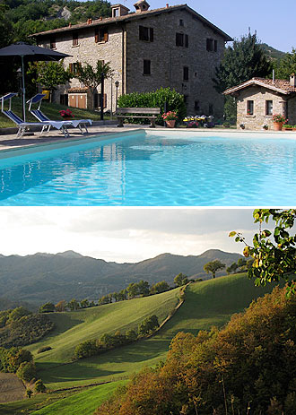At top, the inn's pool is filled with mineral-rich water from a natural spring on the property; at bottom, a shot of the Bartner's neighborhood near the town of Piobicco